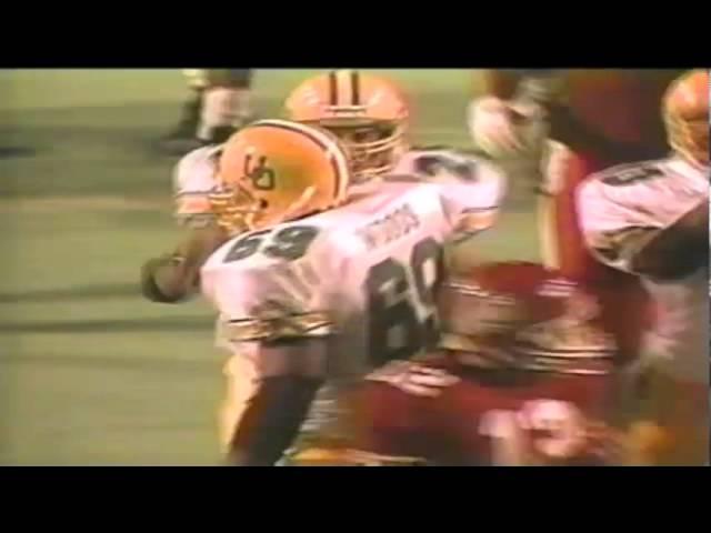 Oregon DT Marcus Woods tackles Utah RB Steve Abrams for a loss 9-21-1991