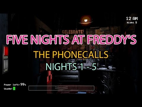 Five Nights At Freddy's | Phone Calls / Messages Only | Nights 1 - 5