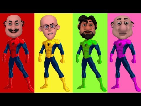 MOTU PATLU Wrong Heads with Spiderman Homecoming 2017 Learn Colors with Motu Patlu in Hindi Cartoon thumbnail