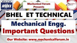 Mechanical Engg Important Questions | BHEL ET Recruitment 2019 | BHEL Preparation