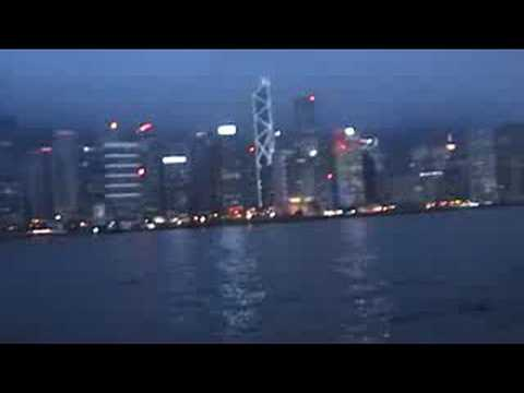 Hong kong City skyscrappers by night