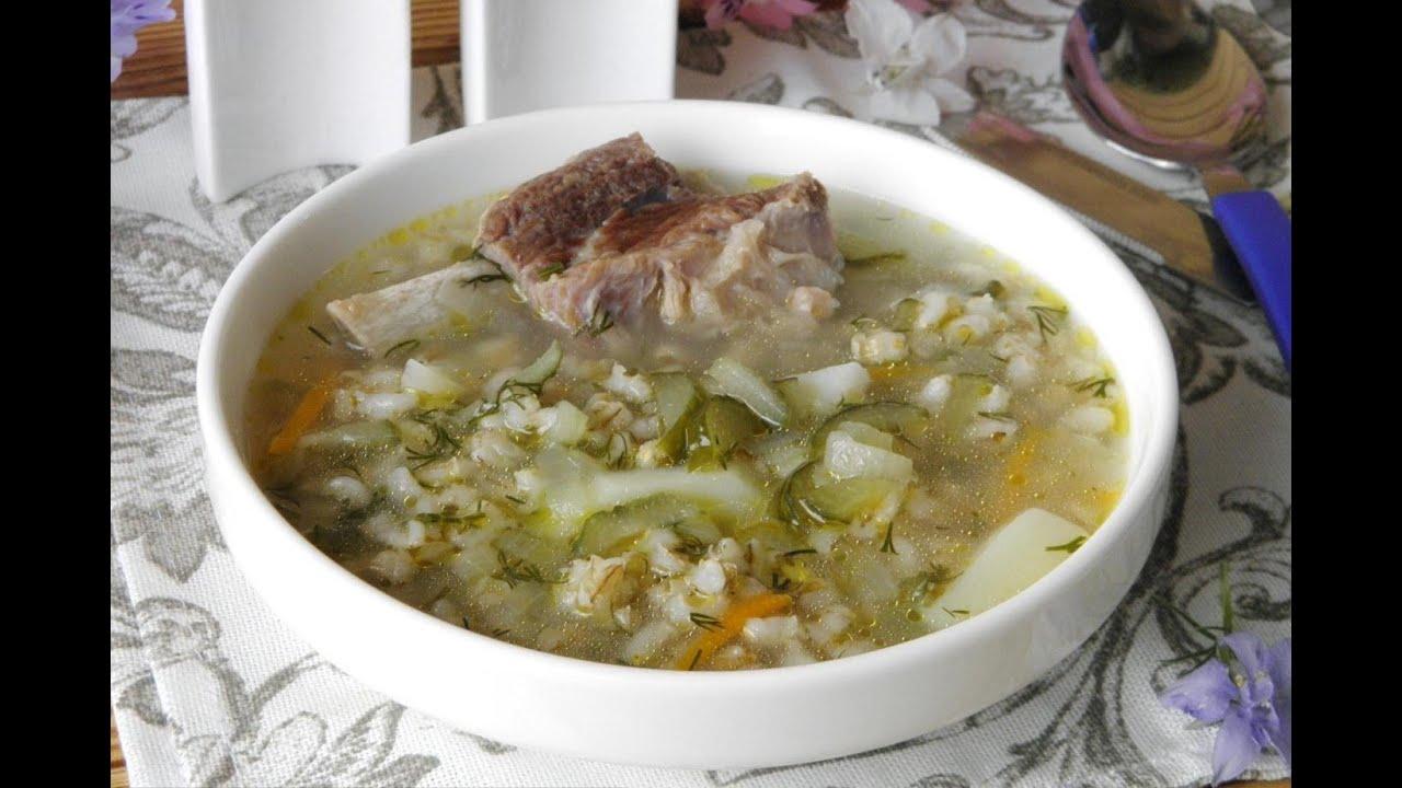 Рассольник с перловкой колбасой и солеными огурцами рецепт