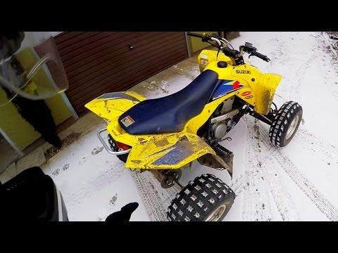 First snow + Quad Suzuki Z400 - Winter ATV riding - Frozen river + Public roads