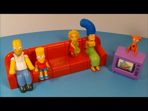 2008 THE SIMPSONS COUCH-A-BUNGA SET OF 6 BURGER KING KID'S MEAL TOY'S VIDEO REVIEW
