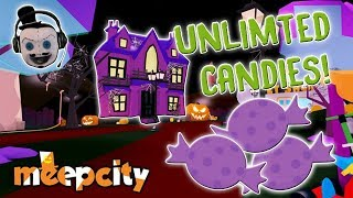 SECRET Spooky Haunted House and Unlimited Candy in Meepcity Roblox!