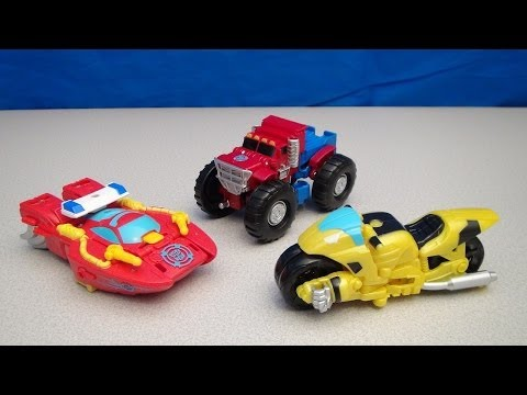 Rescue Bots Transformers Optimus Prime Bumblebee And Heatwave Video Toy Review video