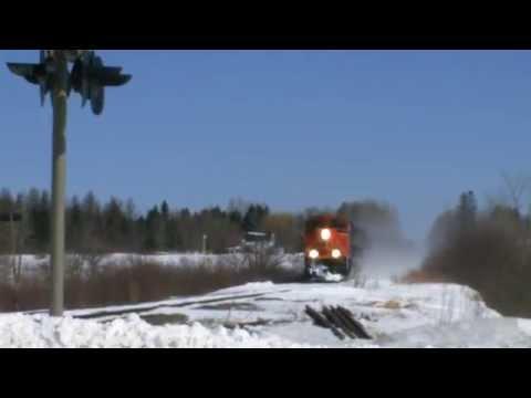Post Blizzard of 2014 Winter Railfanning - CN 406 West at Salisbury, NB (March 27, 2014)