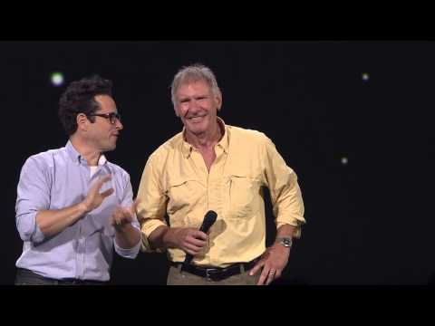 D23 Expo Saturday 8/15   Star Wars The Force Awakens- JJ Abrams brings Harrison Ford onstage HD