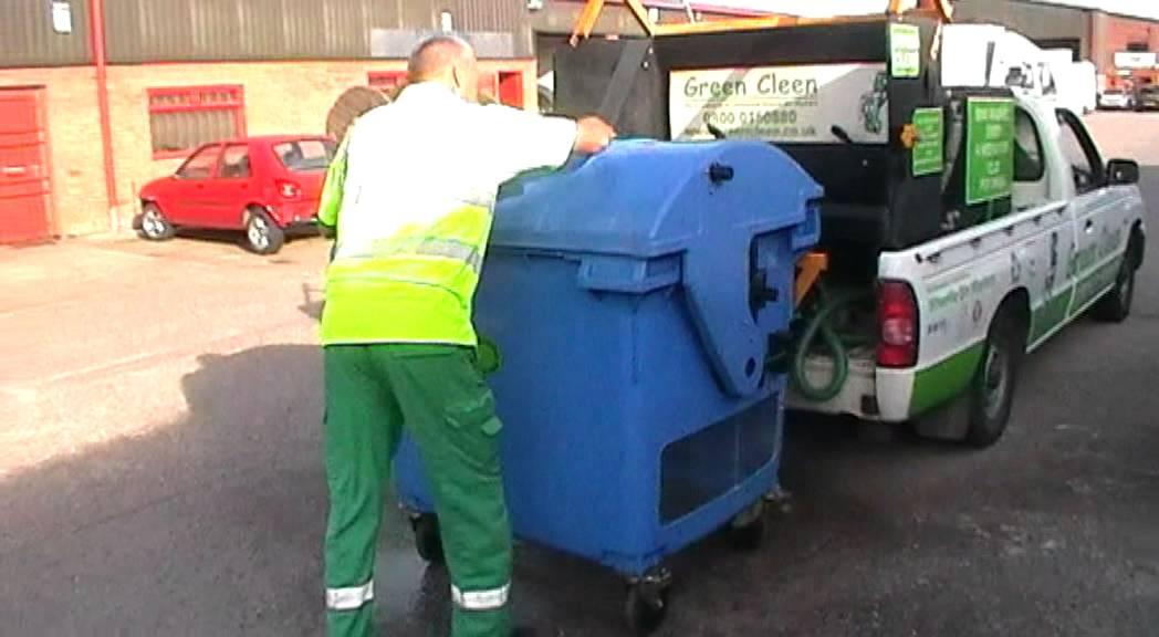 Green Cleen The Wheelie Bin Cleaning Company washing a ...