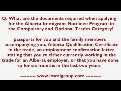 Documents required when applying for the AINP in the Compulsory and Optional Trades Category