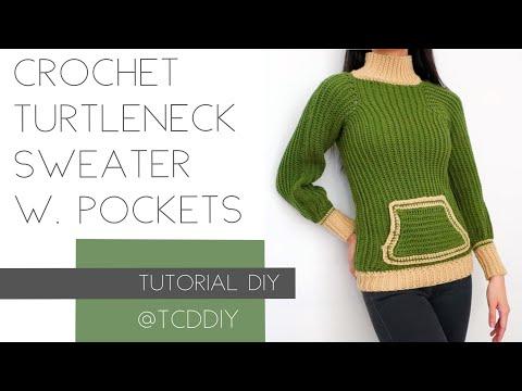Crochet Turtleneck Sweater with Pocket | Tutorial DIY