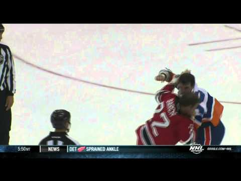 Brent Gallant vs Krys Barch helmet rule NY Islanders vs NJ Devils 9/19/13 NHL Hockey