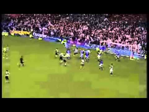 Peter Schmeichel scores a goal for Aston Villa