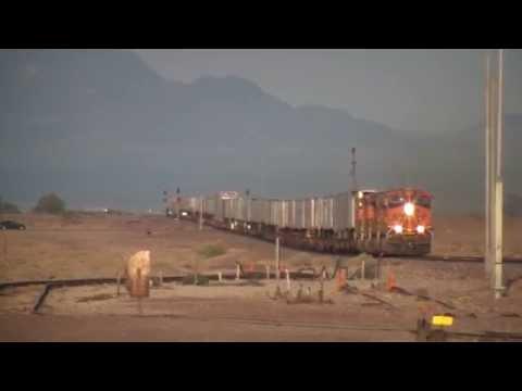 70 Mile Per Hour BNSF Trains Through Newberry Springs HD