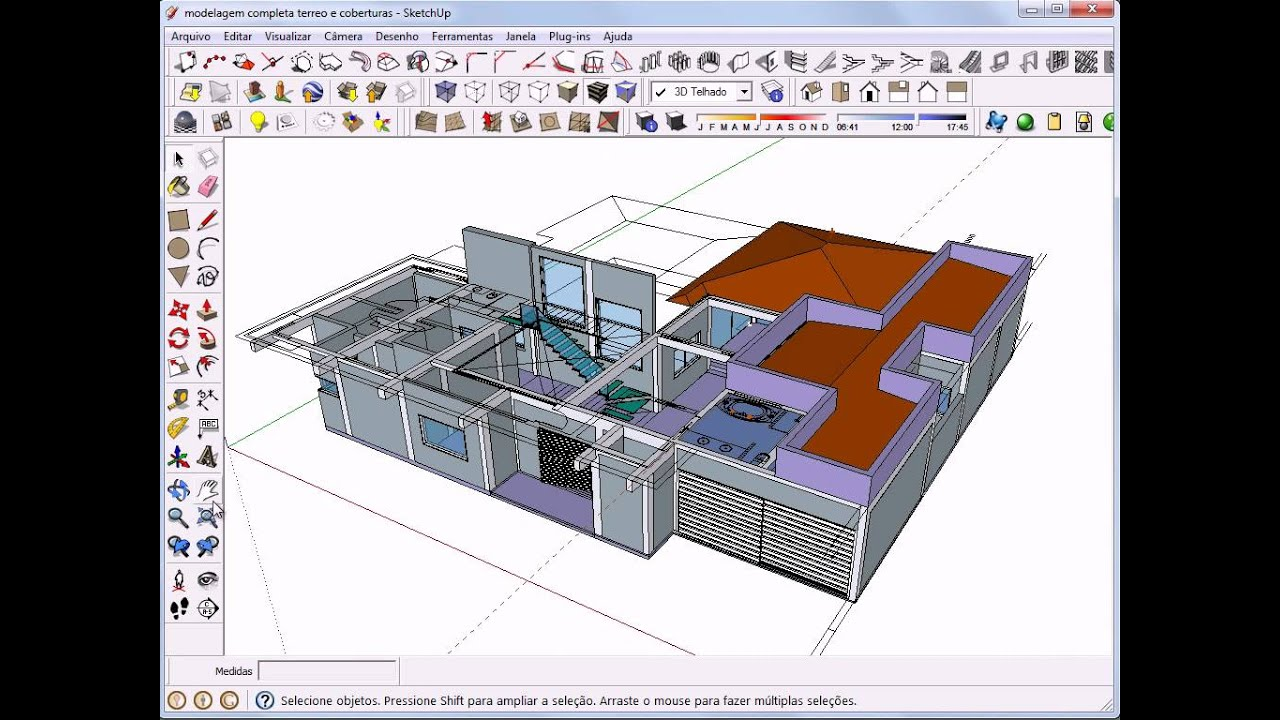 Aula 1 sketchup 8 portugu s modelagem residencial para for Mobilia para sketchup 8