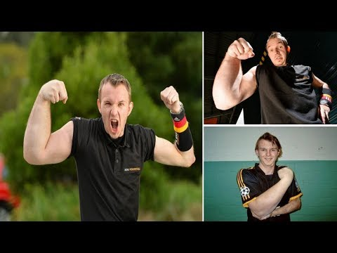 German POPEYE : Armwrestler has ONE supersized arm and proves why he has perfect job