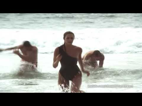 WW | Lynda Carter | Tight black swimsuit on the beach Bouncing Big Breasts 2