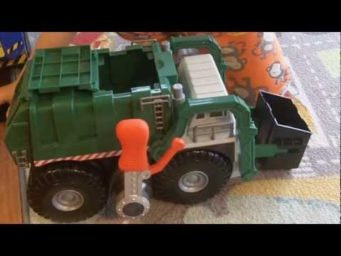 Green Toy Tonka Garbage Truck Picking Up Trash