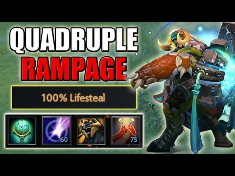 +100% Lifesteal with Duel + Berserker's Blood [Always Full HP 4x Rampage Imba] Dota 2 Ability Draft