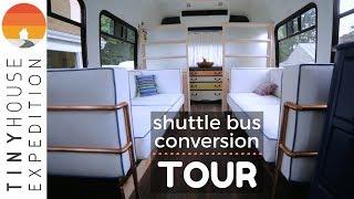 Shuttle Bus Conversion Tour: A Couple's Low-Tech DIY Tiny Home