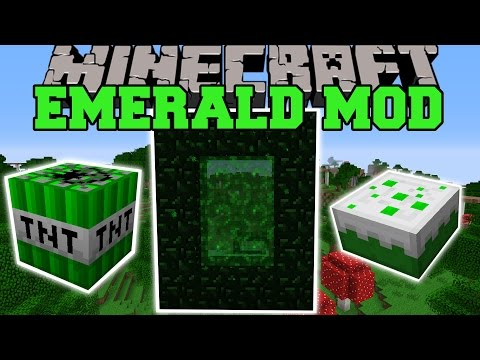 Minecraft: EMERALD MOD (NEW DIMENSION. EXPLOSIVES. WEAPONS. ITEMS. & MORE!) Mod Showcase