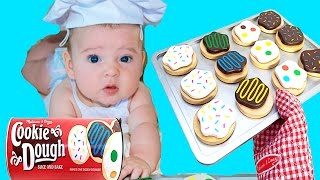 BABY Boy Eli MAKES COOKIES FUNNY How To Video Baby Alive Snackin Eats Cookie Melissa Doug Learning