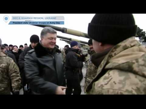 Poroshenko Visits Troops on Army Day: Event takes place as Ukrainian forces battle militants in east