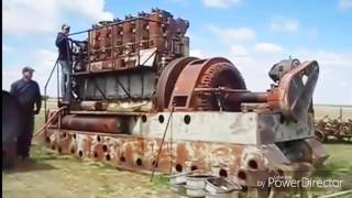 Big old diesel engine startup compilation