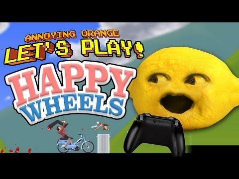 Annoying Orange - Let's Play Happy Wheels with Grandpa Lemon!