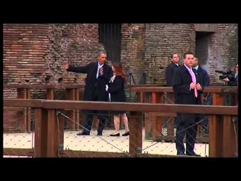 Raw: Obama Visits Rome Colosseum