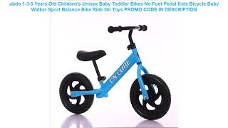 Promocje abdo 1-3-5 Years Old Children's Unisex Baby Toddler Bikes No Foot Pedal Kids Bicycle Baby