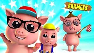 Three Little Pigs | Nursery Rhymes | Cartoon Videos & Children Stories by Farmees