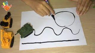 Mở hộp đồ Chơi Trẻ Em Xe Tăng - Máy Xúc Ô Tô chạy theo bút vẽ rất thông minh giúp phát triển trí tuệ