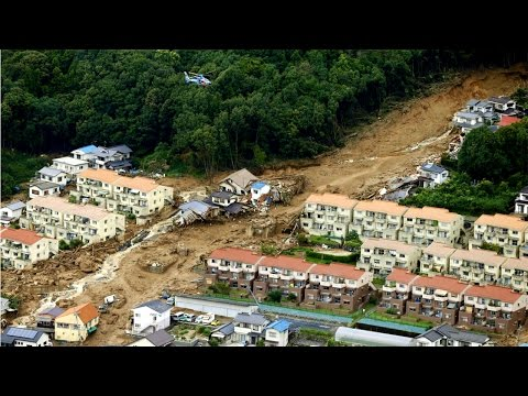 Landslides Engulf Homes In Hiroshima, Japan