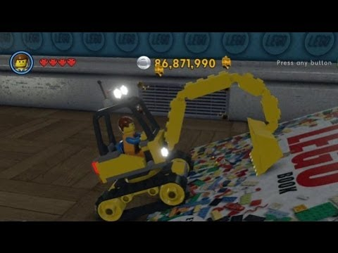 The LEGO Movie Videogame - Golden Instruction Build #1 - Excavator Vehicle Showcase