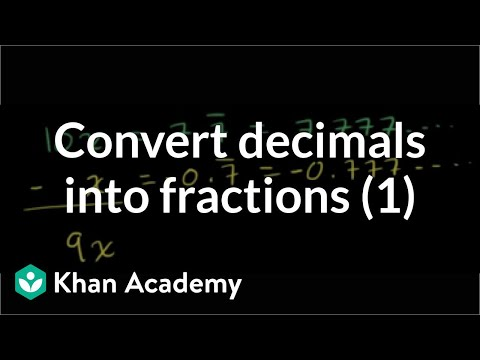 Coverting Repeating Decimals To Fractions 1 video