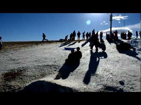 Sledding Jumping Racing at Ruby Hill Rail Yard   Denver, CO