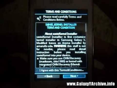 Installing savieSGY Kernel on Galaxy Y