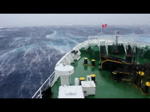 Travel : Trip 100 : Antarctic Expedition - Drake Passage Storm {Huge wave hits ship at 1 min 5 secs}