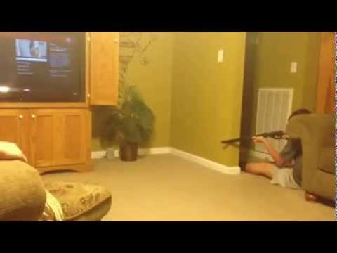 This Kid Tries To Hunt A Mouse In His Own Home.