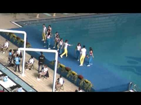 cheerleader dancing girl falls in pool