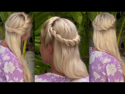 Bohemian half up half down hairstyle for medium long hair Princess. fairy. angel Halloween tutorial