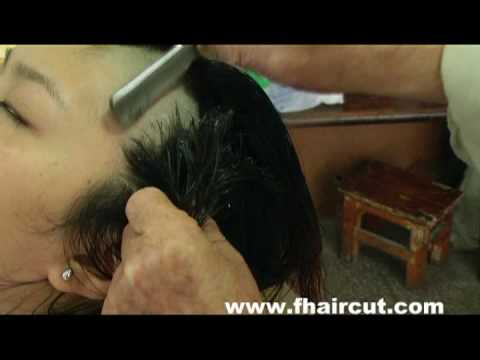 Beautiful old-fashioned barber shaved head