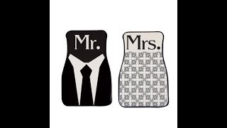 VictoryStore Newlywed Mr. and Mrs. 2 Piece Carpet Car Floor Mat Set
