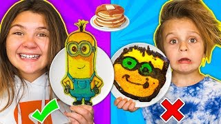 FIRST PANCAKE ART CHALLENGE!! Making Incredibles 2, Minions, Disney, Coco, Spongebob DIY Pancakes