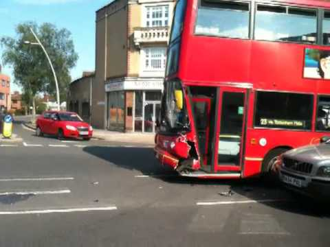 London Bus Route 123 accident at Gants Hill in Ilford - YouTube