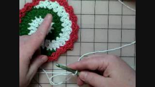 Easy Video Crochet Pinwheel Christmas Coasters - Part 1