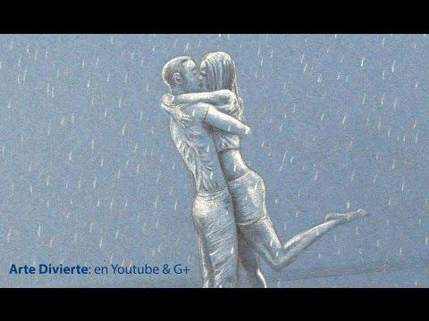 Cómo dibujar una pareja besándose bajo la lluvia - San Valentín - Enamorados