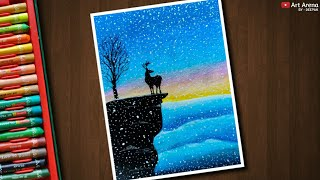 Step by Step Winter Landscape Drawing with Oil Pastels - Art Arena