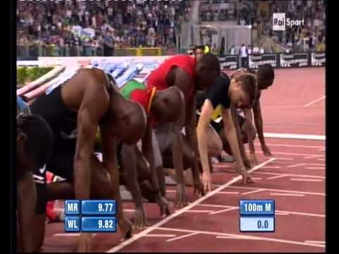 Usain Bolt 2012 Diamond League Rome 9.76 Full Race+Interview.avi